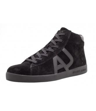 304d410eae ARMANI JEANS pánská kožená obuv kotníkové %%% BLACK