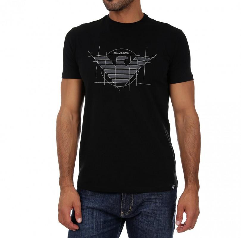 ARMANI JEANS pánské tričko T-shirt SLIM 2018 BLACK černá 05d22e9e05