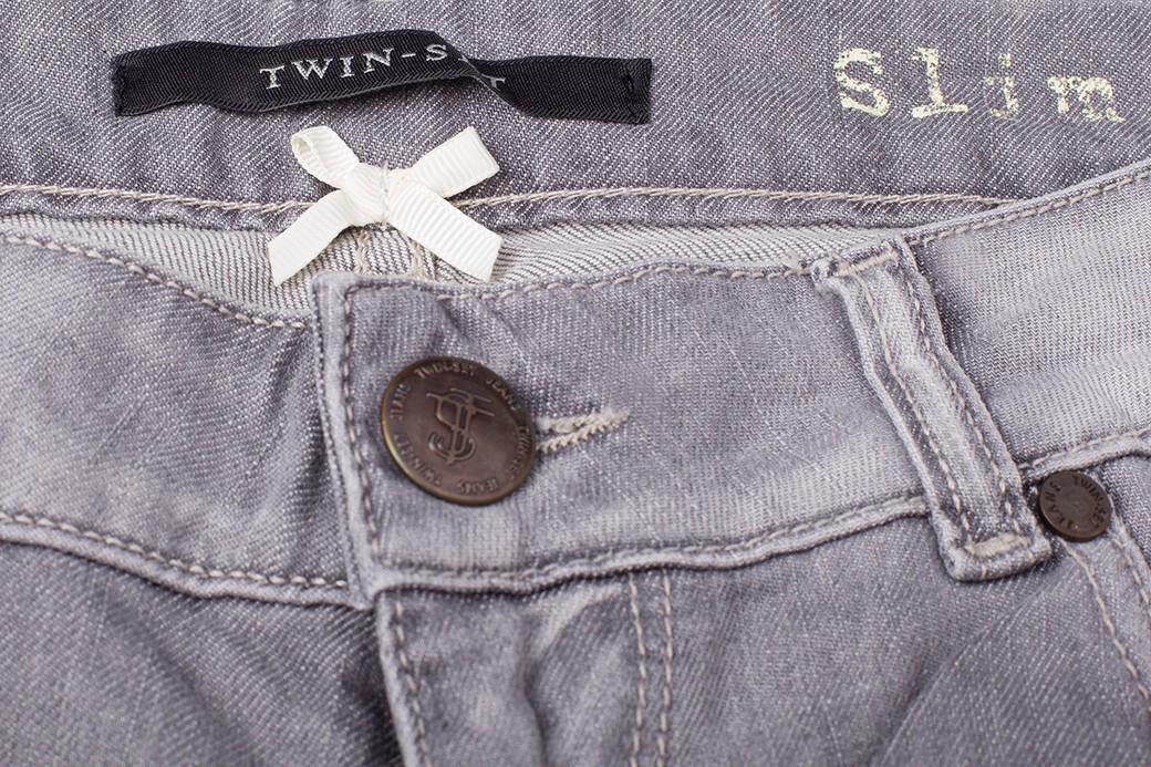 TWIN-SET značkové dámské džíny šedé slim fit -60% ...